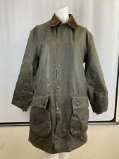 """Barbour Northumbria  38"""" Small Green Vintage Wax Jacket with Detachable Pockets"""