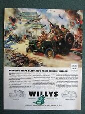 Jeeps Blast Japanese From Chinese Village WWII Willy's Overland Ad