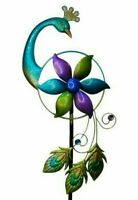 Tall Peacock Metal Garden Decor Wind Spinner Bright Coloured Stunning Design