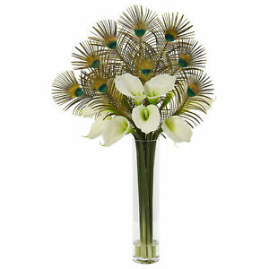 """36"""" Peacock and Calla Lily Arrangement in Cylinder Glass Nearly Natural Cream"""