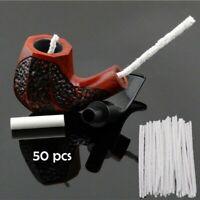 50x Bianco Intensivo Cotone Tubo Lavavetri Fumare Pipa Tabacco Pulizia Strumento