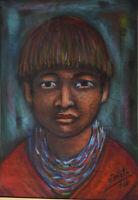 Latin American Art Manuel Eduardo Nieto Crayon Portrait