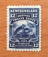 Stamps Newfoundland Sc69 12c dark blue Willow Ptarmigan 1897.Pl see description
