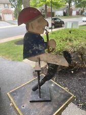 Antique Balancing Folk Art Primitive Metal Smoking Man