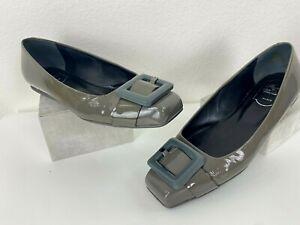 Roger Vivier Paris 8.5 US 38.5 EU Gray Patent Leather Ballet Flats Shoes Runway