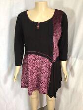 Joe Browns Black Burgundy Patchwork Lagenlook Velvet Lace Tunic Top Sz 20
