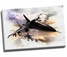Fighter Jets In Action Canvas Art Print Poster 30x20""