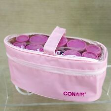 Conair Travel Portable Hot Roller Grip Curlers 3 Sizes Set 10 w/ Case Clips Pink