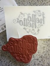 """HELLO-HELLO "" Stampin'UP! NEW~Single Stamp~unmounted~Tag, Greeting, 3 1/2 x 3"""