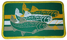 Trout Striped Embroidered Patch 3x5 Fly Fishing Iron On Fisherman GRN