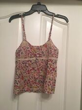 NWT $49 ECOTE URBAN OUTFITTERS C03 Ivory Floral Spaghetti Strap Top Size S