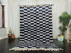 "Handmade Moroccan Beni Ourain Rug 5'5""x8'1"" Checkered Black Gray Berber Carpet"