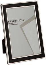 Viceni 5 X 7-inch Silver Plated Photo Frame With Black Enamel Detailing