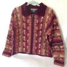 Icelandic Design Wool Sweater Jacket Multi-Color Zip Front Burgandy tan size M