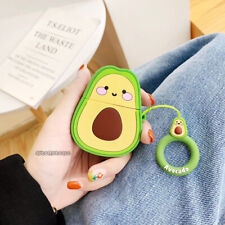 3D Cartoon Avocado Headset Airpods Charge Case Cover Skin For Airpod + Ring