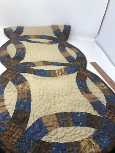Donna Sharp Double Wedding Ring Quilted Table Runner New Primitive Country L3