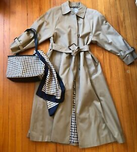 Vintage Aquascutum women's trench coat, scarf and bag, 1980s/1990s style, new