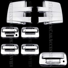 Chrome Covers For FORD F150 2009-2014 Full Towing Mirrors+4 Doors Pad+Tailgate K