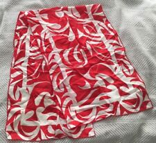 Red and White Swirl Vintage Scarf Silk Blend Made in Japan Sally Gee(?) Rn 33895