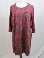 Soma Red & Gray Floral 3/4 Sleeve Shift Dress Size XL