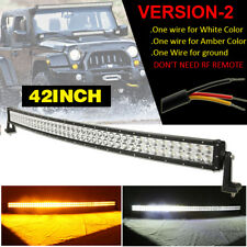 "Dual Color Amber White 42""INCH Curved LED Work Light Bar Combo Beam Offroad SUV"