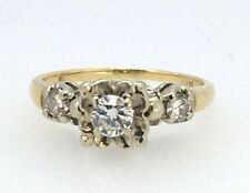 .40 Cttw 3 Stone Vintage Diamond Ring In 14k Two Tone - Collection #10237