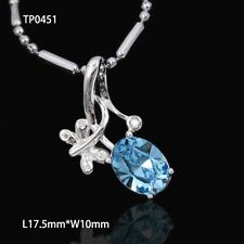 Women New 925 Sterling Silver Crystal Heart Pendant Necklace Chain Jewelry