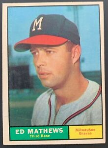 1961 Topps Ed Mathews Baseball Card #120 VG Condition *Milwaukee Braves HOF