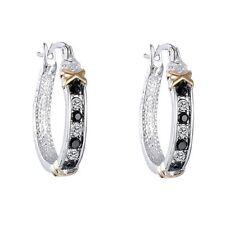 Fashion Women Elegant Crystal Rhinestone Silver Ear Stud Hoop Dangle Earrings