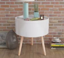 Small White Coffee Table Vintage Wooden Furniture Modern Round Storage End Retro