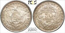 1904-PTS MM BOLIVIA 50 Cnetavos 50C Silver PCGS Gold Shield MS 64 Top Grade Rare