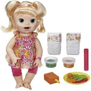 Baby Alive Snackin' Sara Blonde Doll New