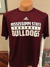 SWEET Mississippi State Bulldogs Football Men's Lg Adidas Climalite Shirt, NICE!