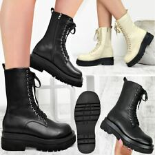 Womens Chunky Lug Sole Winter Ankle Boots Lace Up Platform Goth Punk Biker Shoes