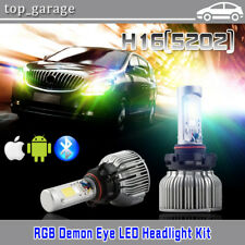 H16 5202 LED Fog Light + RGB Demon Eye APP Control for GMC Sierra 1500 2007-2015