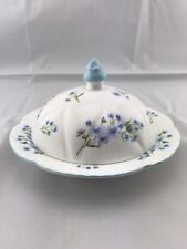 Vintage Shelley Bone China Dainty Blue Rock Butter/Cheese 13591 Made In England