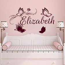 Personalized Name Wall Decals Butterfy Art Girl Vinyl Sticker Baby Bedroom MN662