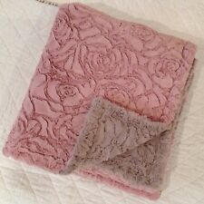 Cosy Warm Soft Throw Rug Blanket Pink Reversable Taupe Rose Pattern 160 x 160 cm