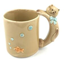 "Crazy Cat Lady Coffee Tea Mug Cup Fish 3D  Glass Ceramic Korea 4 5/8"" Tall"