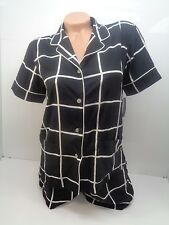 Natori Window Pane Pajama Set In Black And White Size S