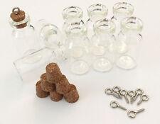 4029 5 Stück 25x22mm Mini Flaschen Glas Stern Phiole Korken Schraubösen
