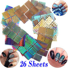 26 Sheets 3D Nail Art Tip Stencil DIY Guide Vinyl Hollow Decal Manicure Stickers
