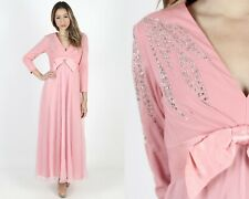 Vintage 70s Rhinestone Disco Dress Pink Chiffon Cocktail Party Wedding Gown Maxi