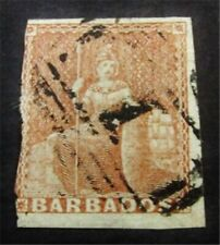 nystamps British Barbados Stamp # 4 Used $330 J15y2072