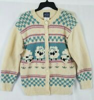 VTG Woolrich Woman 100% Wool Cardigan Sweater Pastels Sheep Easter Flowers M