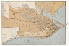 Old Antique Decorative Map of Quebec City Canada Chalifour ca. 1915