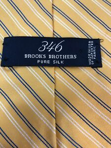 """Brooks Brothers 346 Pure Silk Yellow Blue White Striped Mens Neck Tie 58"""""""