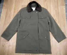 JAEGER Khaki Green Wool Blend, Faux Fur Collar Jacket Coat UK 12-14