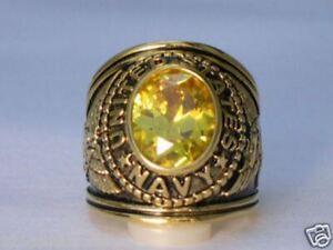 12X10 mm United States Navy Military November Yellow Stone Men Ring Size 12