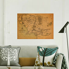 Lord Of The Rings Movie Middle Earth Map Framed Print Wall Art Stickers Decals